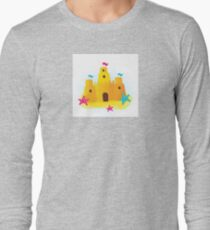 Beach sandcastle : blue, yellow and pink Long Sleeve T-Shirt