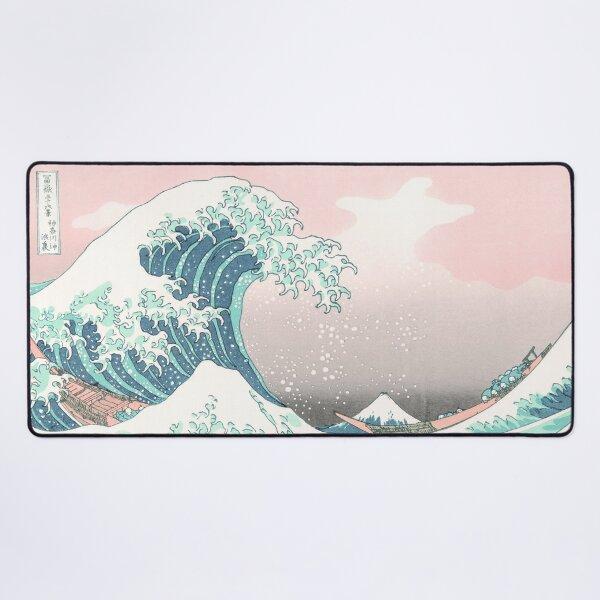 The Great Wave off Kanagawa - Hokusai - Pastel Pink Color Desk Mat