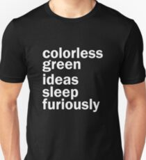 Colorless Green Ideas Sleep Furiously | Black | Linguistics T-Shirt