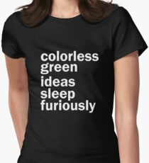 Colorless Green Ideas Sleep Furiously | Black | Linguistics Womens Fitted T-Shirt
