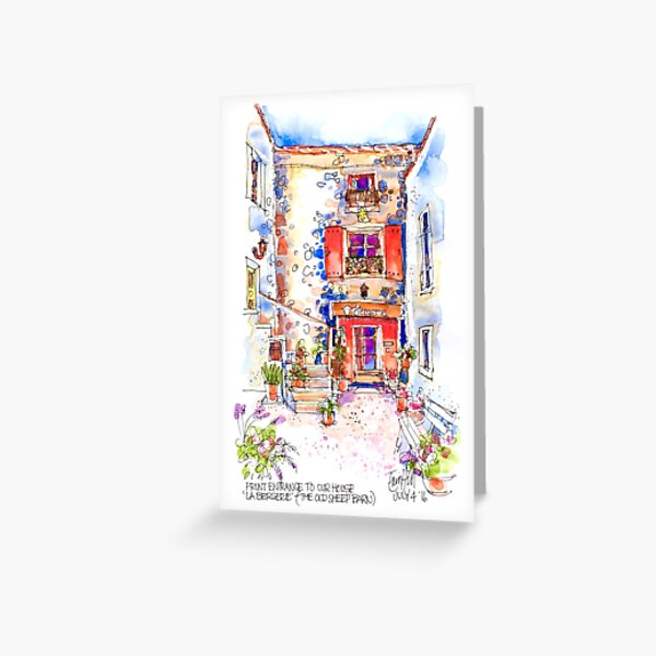 Entrance to La Bergerie, Trausse, France Greeting Card