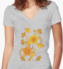 Shades of yellow .. flower design Women's Fitted V-Neck T-Shirt