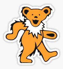 Grateful Bear Orange/White Sticker