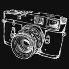 Vintage Rangefinder Camera Line Design - White Ink for Dark Background by strayfoto
