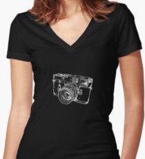Vintage Rangefinder Camera Line Design - White Ink for Dark Background Women's Fitted V-Neck T-Shirt