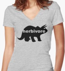 Herbivore (triceratops) Women's Fitted V-Neck T-Shirt