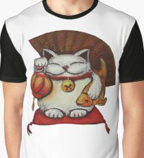 White Maneki neko with a Japanese lantern and koi Graphic T-Shirt