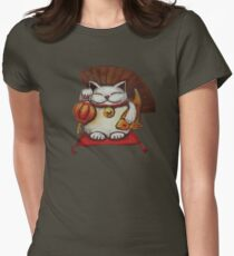 White Maneki neko with a Japanese lantern and koi T-Shirt