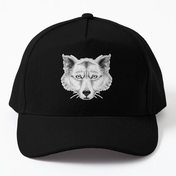 Wolf Head Black and White Ink Design Baseball Cap