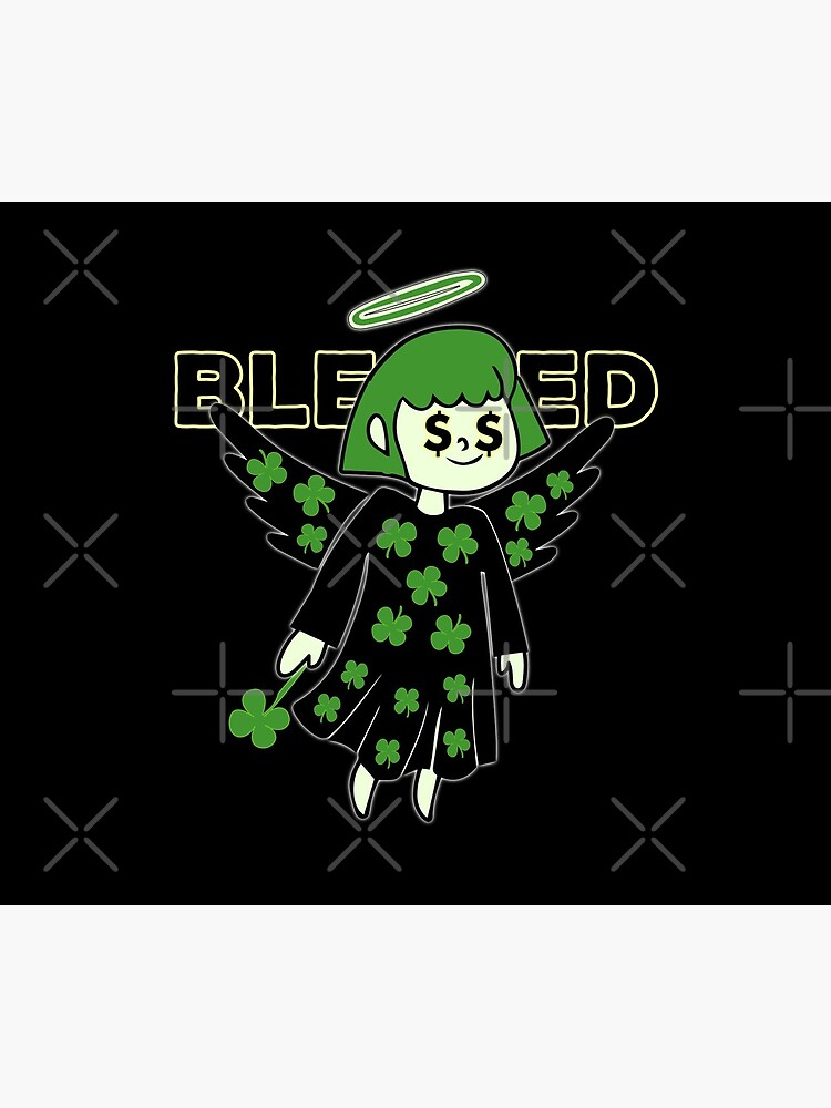 Lucky Clover Blessed Angel - Good Luck Charm by CWartDesign