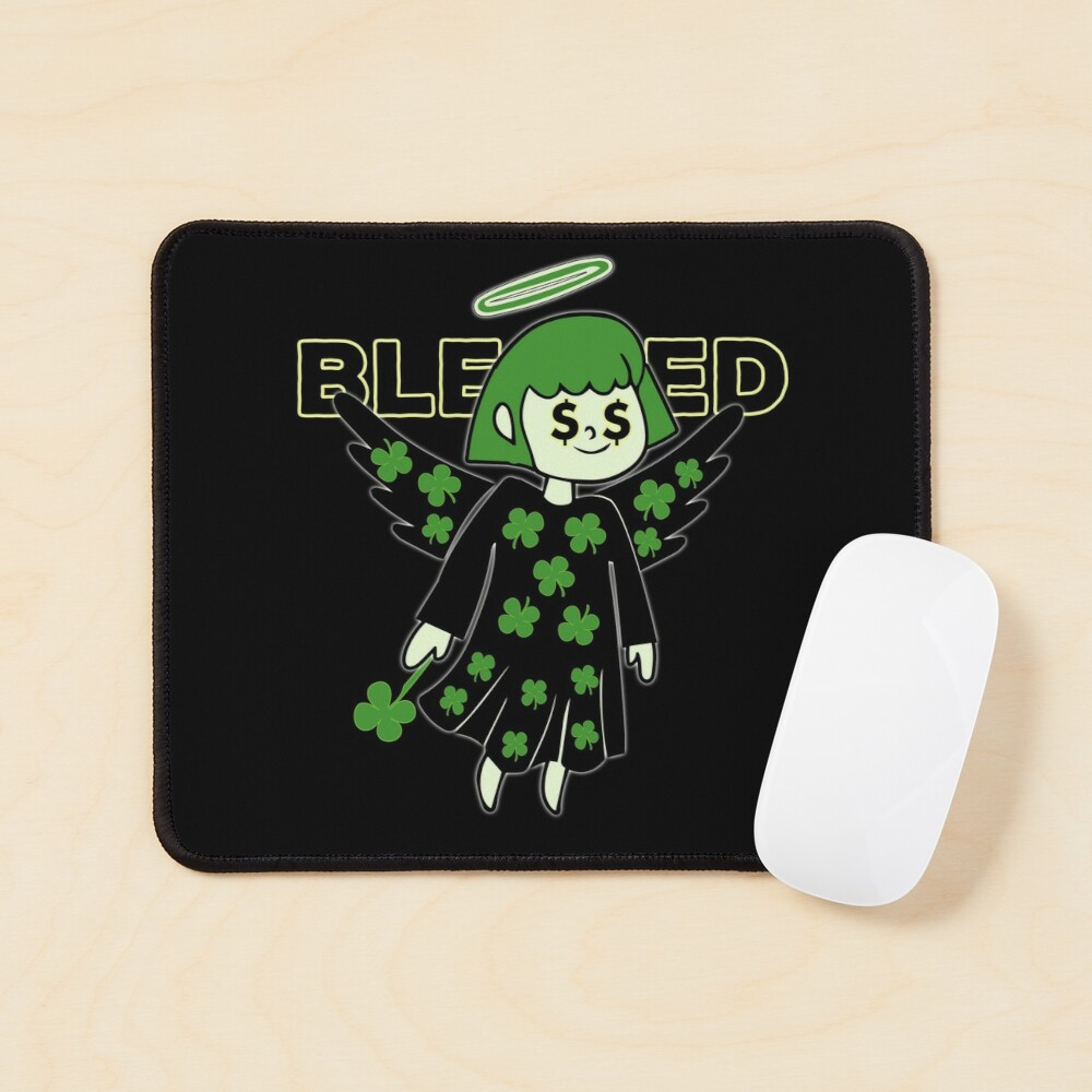 Lucky Clover Blessed Angel - Good Luck Charm Mouse Pad