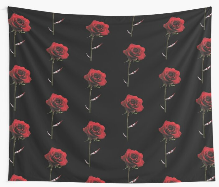 Wall tapestry with a pattern of bloody red roses with one of the thorns shaped as bloody dagger.