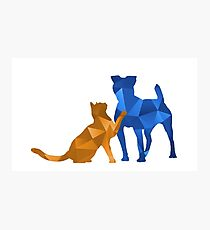 Moggy and Pooch #2. Blue&gold. Take your best friend everywhere. Photographic Print