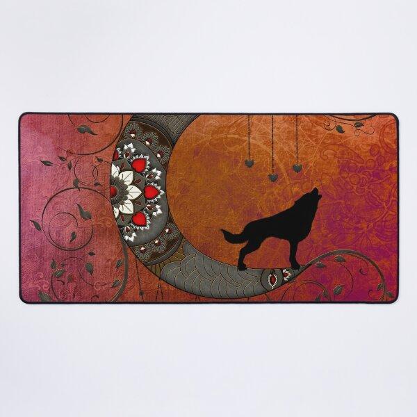 Black wolf on decorative steampunk moon Desk Mat