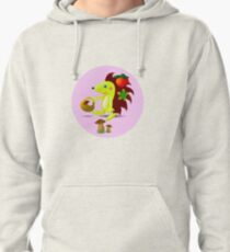 cute hedgehog collects apples and mushrooms in the forest Pullover Hoodie