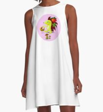 cute hedgehog collects apples and mushrooms in the forest A-Line Dress