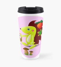 cute hedgehog collects apples and mushrooms in the forest Travel Mug