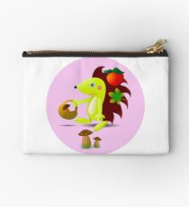 cute hedgehog collects apples and mushrooms in the forest Studio Pouch