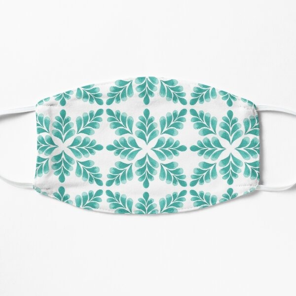 Abstract Floral Pattern | Turquoise color Palette Art Print Flat Mask