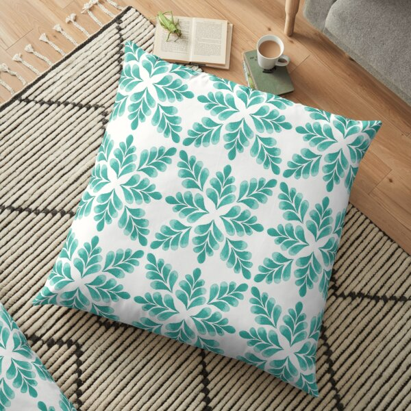 Abstract Floral Pattern   Turquoise color Palette Art Print Floor Pillow