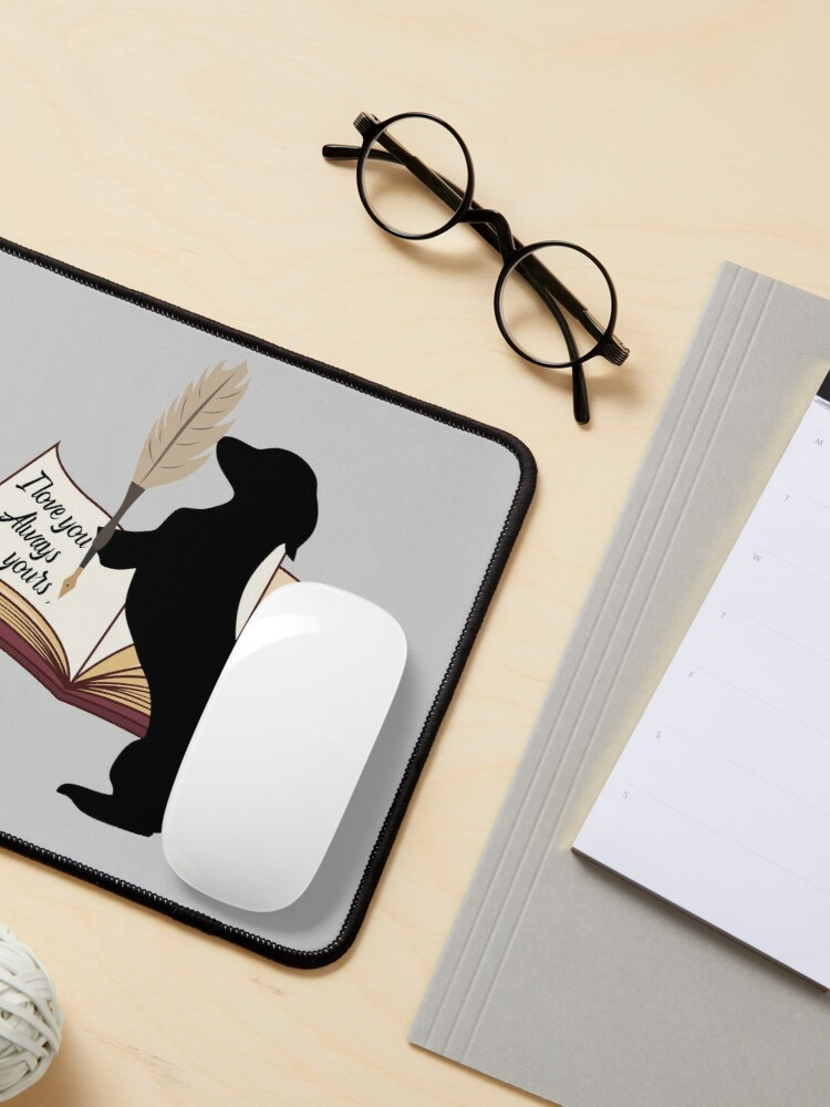 Alternate view of Dachshund cute gift. Doggo is writing to his mom and dad I love you always Mouse Pad