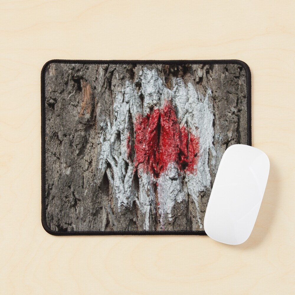 Forest tree, marked with red and white circle, wooded bark texture, original photography  Mouse Pad