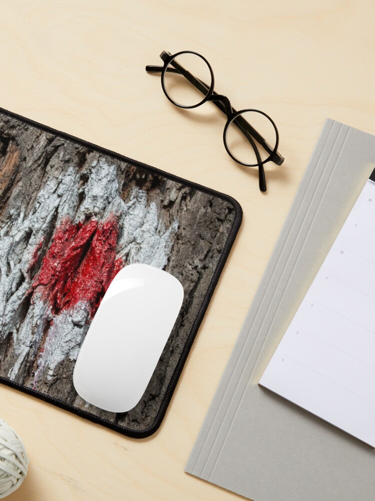 Alternate view of Forest tree, marked with red and white circle, wooded bark texture, original photography  Mouse Pad