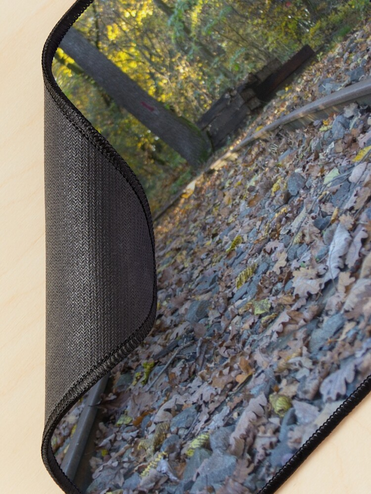 Alternate view of Railway through forest, pathway, partial shade, leaves on the ground, Autumn, original photography Mouse Pad