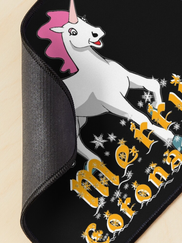 Alternate view of Merry Coronamas cute unicorn Mouse Pad