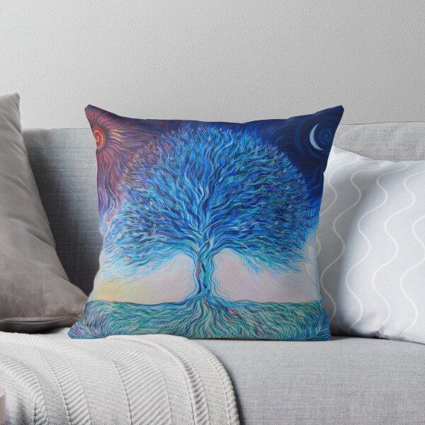 Sun, Moon, Tree of Life Throw Pillow