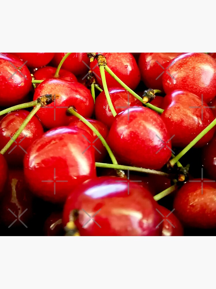 Fresh red cherries with dewdrops on them. Healthy lifestyle by CWartDesign