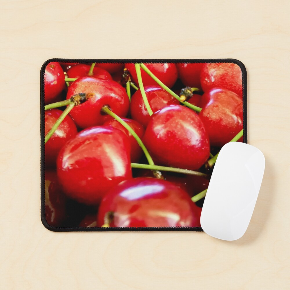 Fresh red cherries with dewdrops on them. Healthy lifestyle Mouse Pad