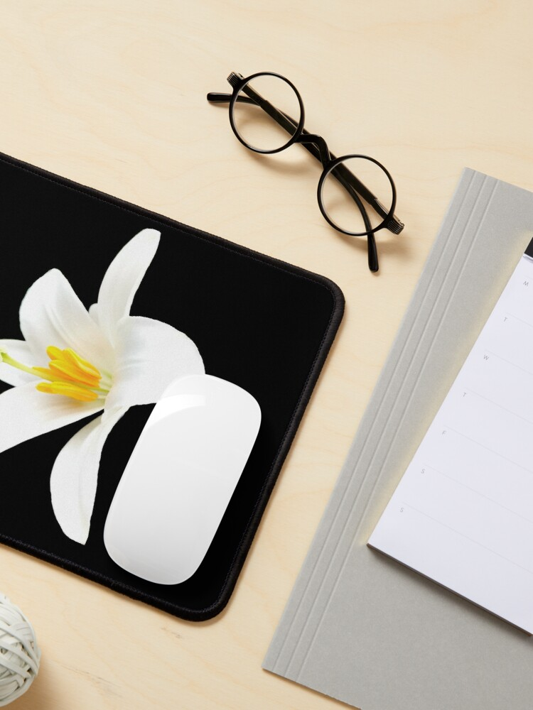 Alternate view of  Isolated white lily Mouse Pad