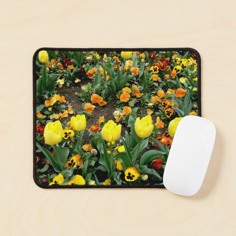 Ask me about my plants. Childhood flower garden, mixture of all colors, nature, relaxation Mouse Pad