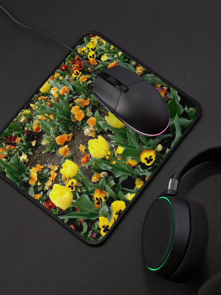 Alternate view of Ask me about my plants. Childhood flower garden, mixture of all colors, nature, relaxation Mouse Pad