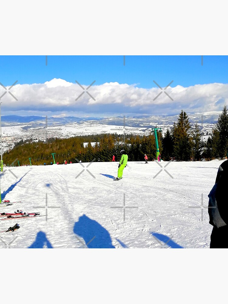 Landscape on the ski slope, sunny day, people feeling good, mountains in the distance, beautiful clouds in the sky by CWartDesign