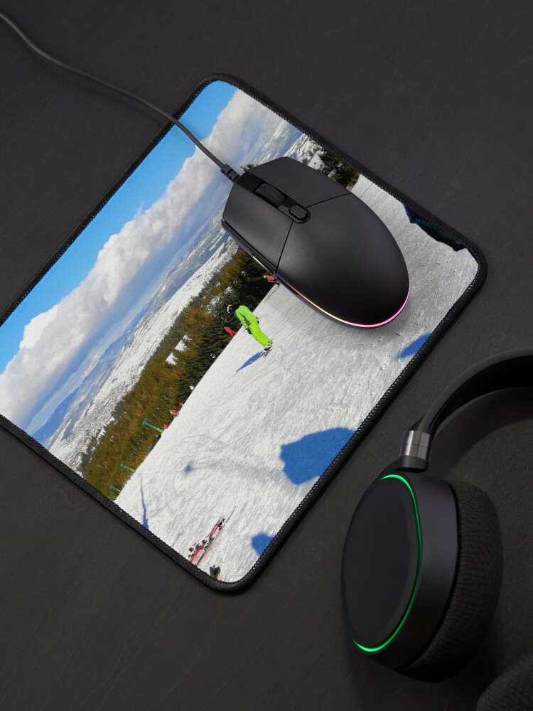 Alternate view of Landscape on the ski slope, sunny day, people feeling good, mountains in the distance, beautiful clouds in the sky Mouse Pad