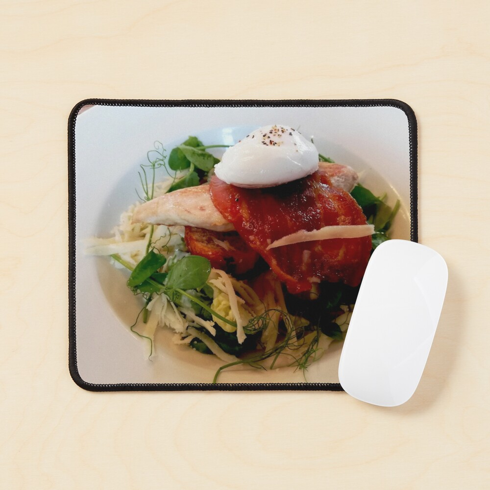 White plate with healthy food, chicken breast, arugula, bacon, cabbage, watercress, egg on top Mouse Pad