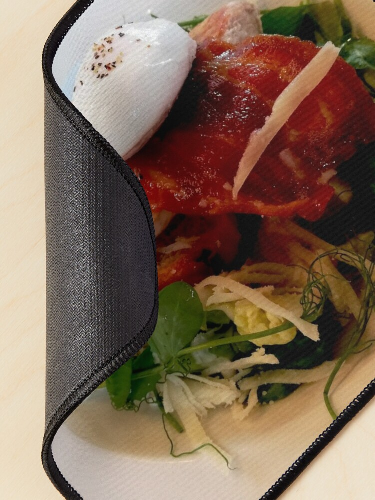 Alternate view of White plate with healthy food, chicken breast, arugula, bacon, cabbage, watercress, egg on top Mouse Pad