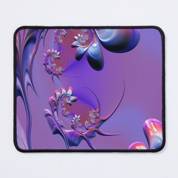 Pink flying fairies in a flower garden fractal Mouse Pad