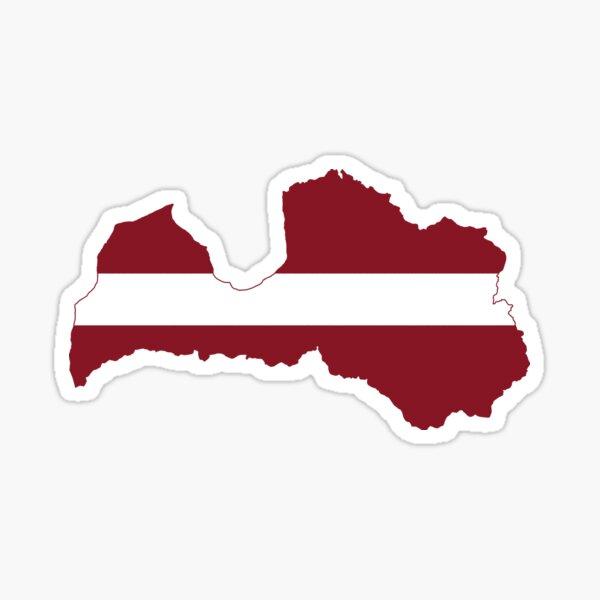 Latvia Flag Map Sticker