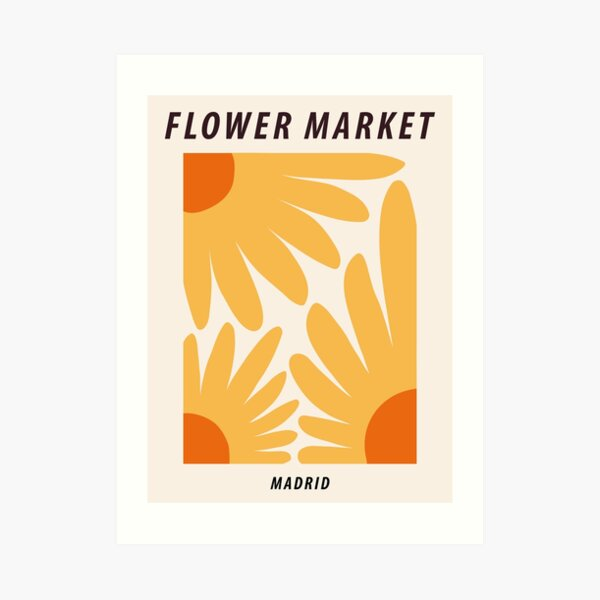 Flower market print, Madrid, Posters aesthetic, Sunflowers, Cottagecore decor, Floral art Art Print