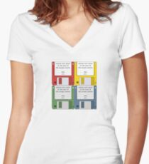 Leisure Suit Larry on 4 floppy discs Women's Fitted V-Neck T-Shirt