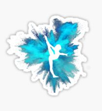 Gymnast Silhouette - Blue Explosion  Sticker