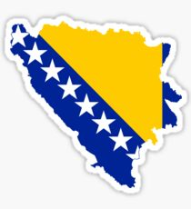 Bosnia and Herzegovina Flag Map Sticker