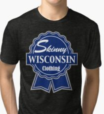 Wisconsin Skinny Blue Badge of Honor Tri-blend T-Shirt