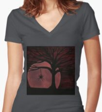 Spooky Spider Tree Women's Fitted V-Neck T-Shirt