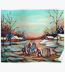 POND HOCKEY PAINTING COUNTRY SCENE Poster