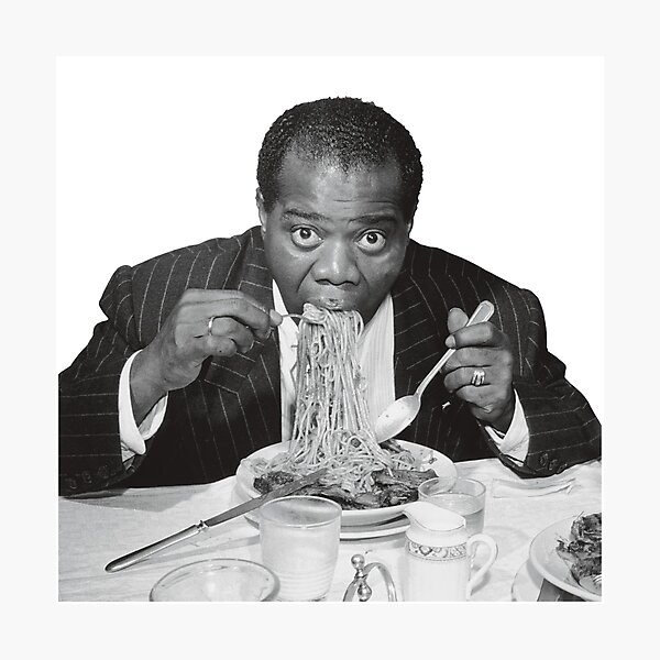 Louis Armstrong Eating Spaghetti Photographic Print
