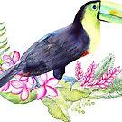 Tropical Bird & Flowers Watercolors by artonwear